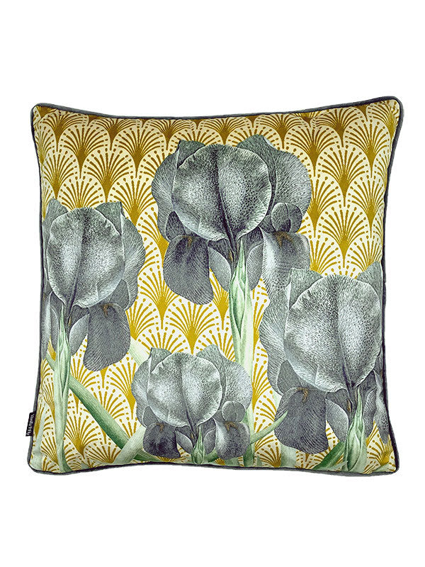 Velvet Cushion Grey Iris
