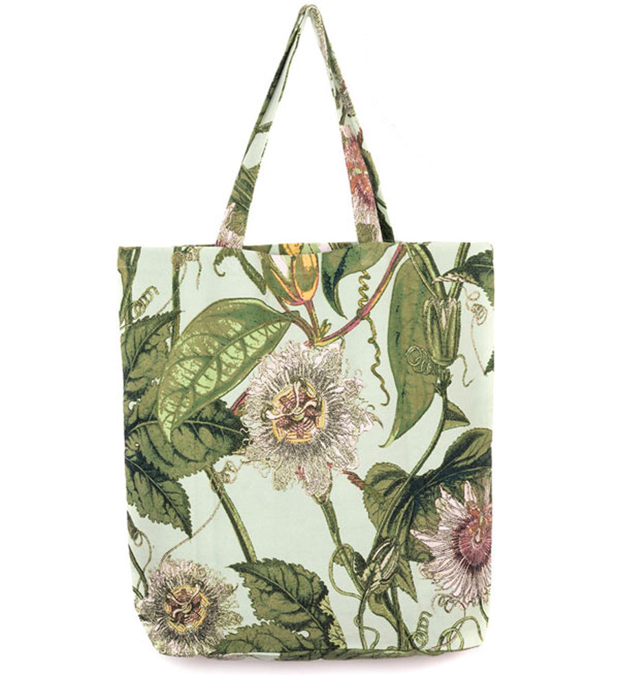 Kew Aqua Passionflower Canvas Bag