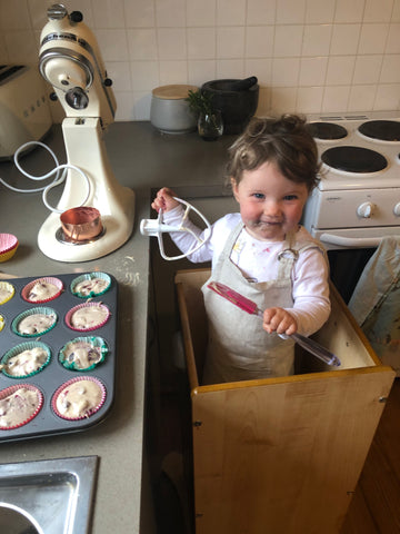 my little helper making muffins in her funpod.