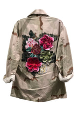 Camo Crop Jacket with Applique in Khaki
