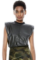 Kendrick Vegan Leather Top in Black