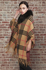 Plaid Cape with Fox Trim