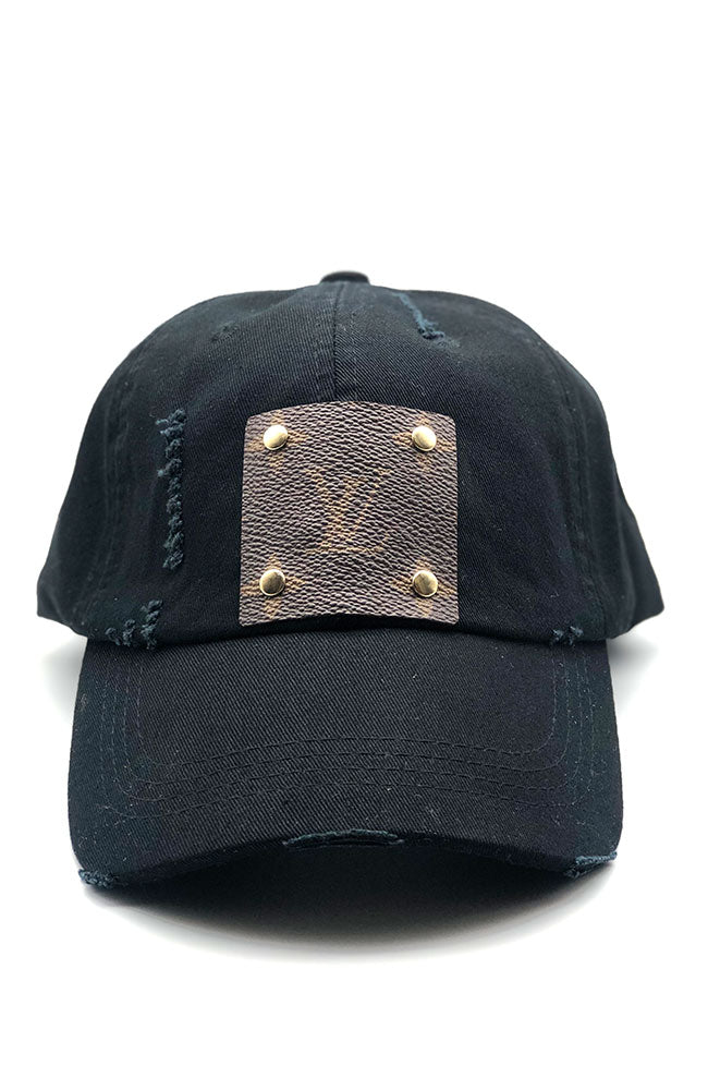 Faux LV Ball Cap Black
