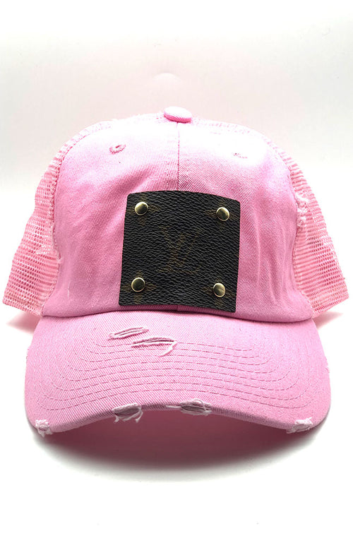Faux LV Ball Cap Pink