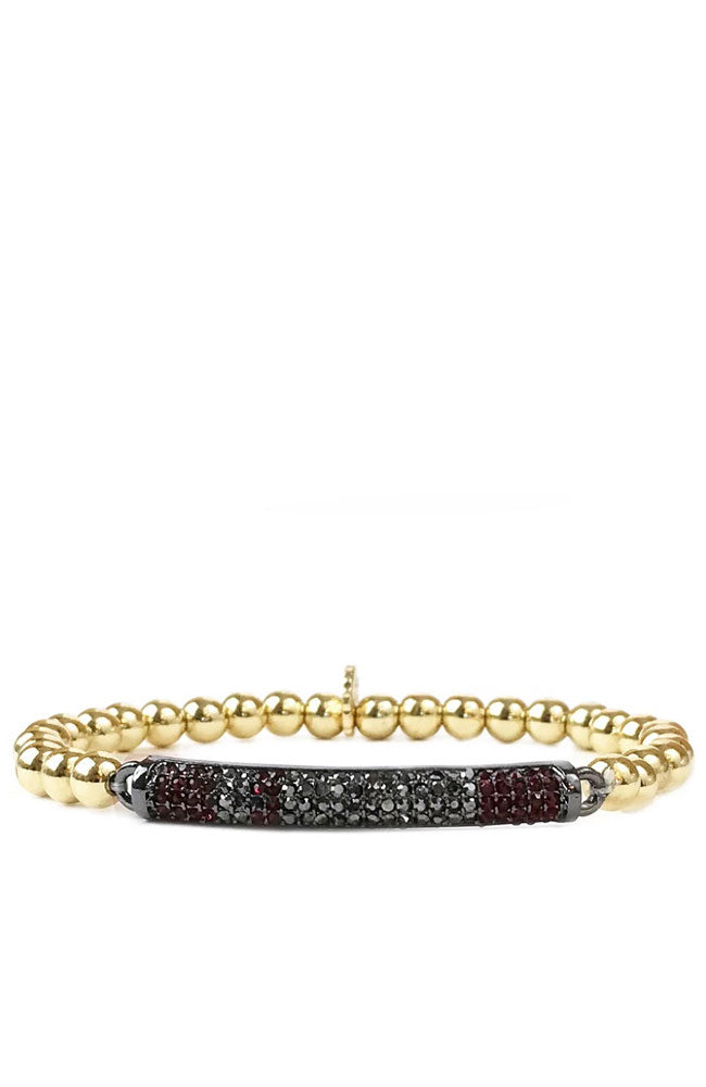 Ball Bracelet w/Pave Band Gold Hematite Ruby