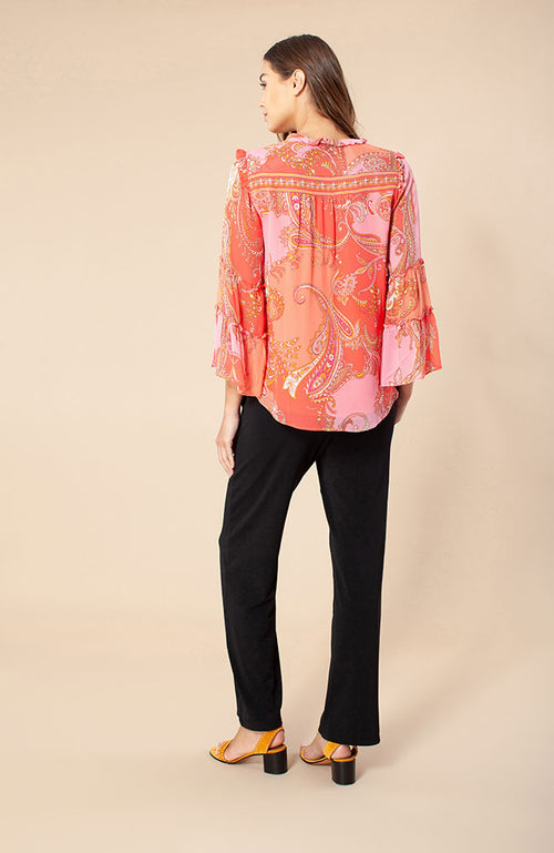 Alma Long Sleeve Print Top in Coral