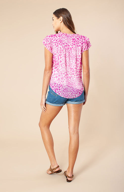 Mallory Short Sleeve Tie Top in Fuschia