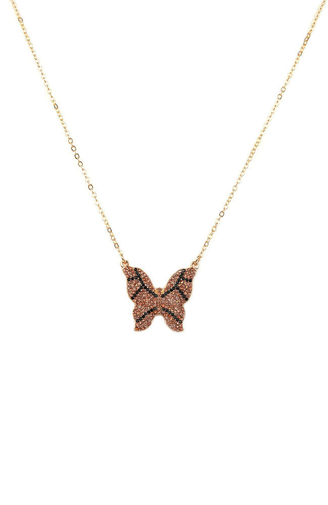 Crystal Butterfly Necklace Gold