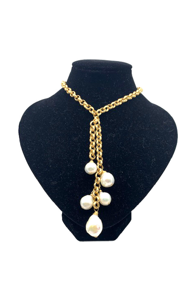 White Edison Waterfall Necklace