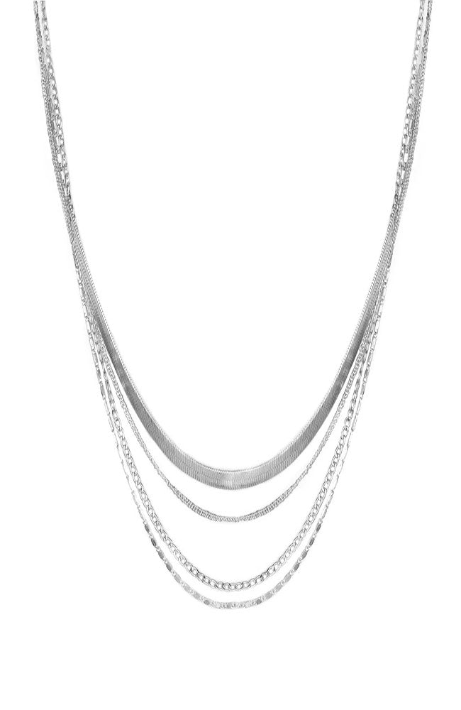 Layered Metal Necklace Silver