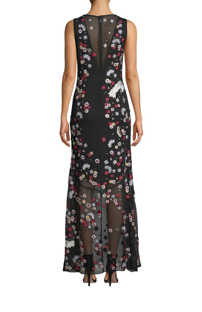 Crane And Cherry Blossom Gown