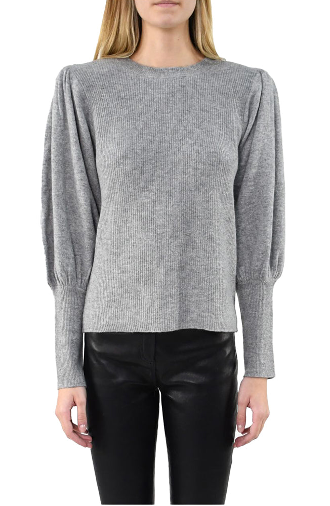 Cashmere Crew Sweater with Padded Shoulders