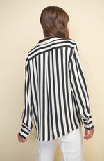 Contrast Stripe Blouse in Black Vanilla