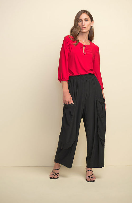 3/4 Sleeve Top with Tie Neck in Lipstick Red