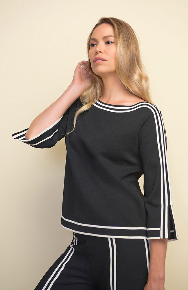 Split Sleeve Top Black Vanilla