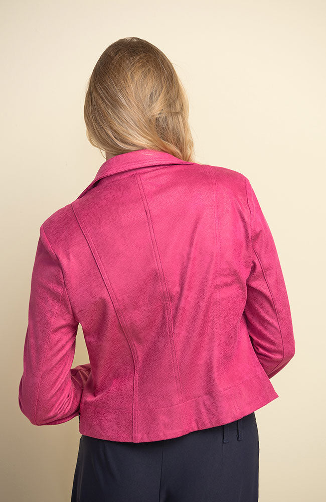 Bomber with Zipper Details Fuschia