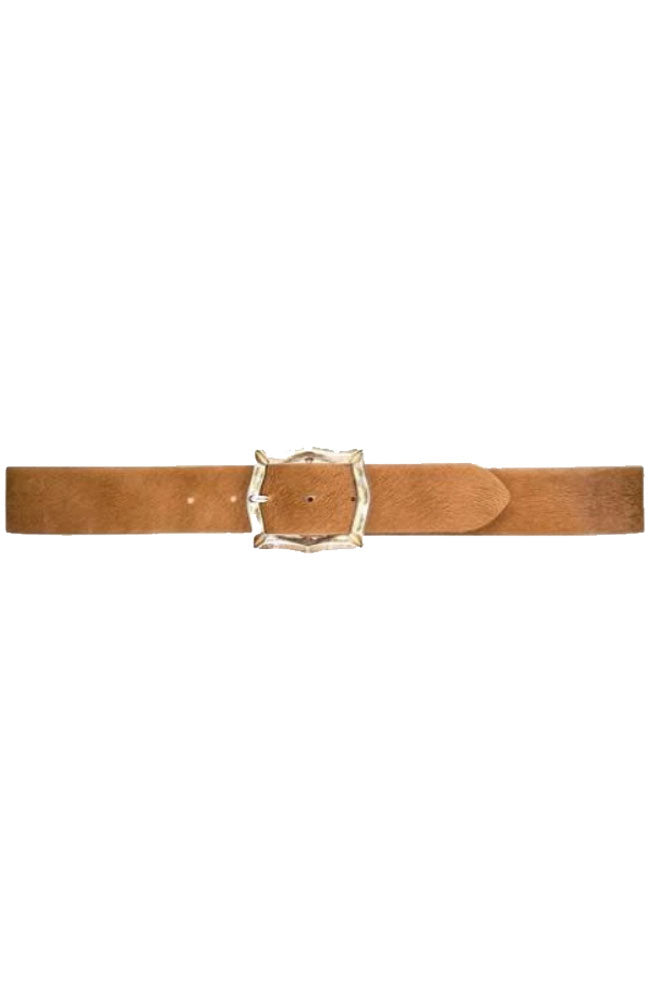 Brown Skinny Belt w/Gold Buckle