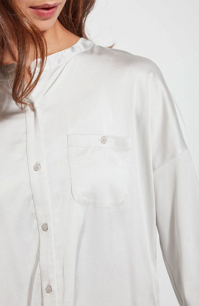 Satin Shirt in Pearl Gray