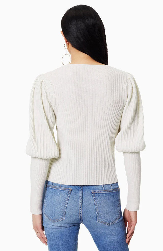 Angie Ribbed Sleeve Sweather in Cream