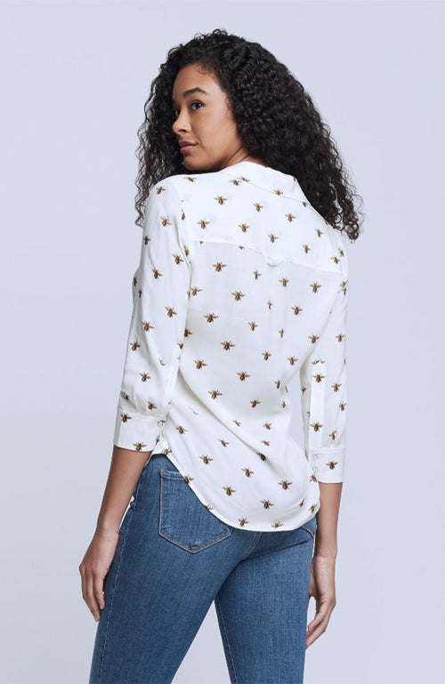 Camille 3/4 Slv Blouse Ecru Bee