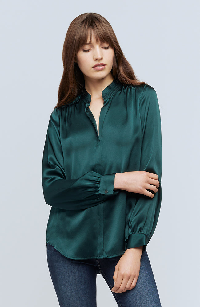 Bianca Band Collar Blouse in Dark Glade
