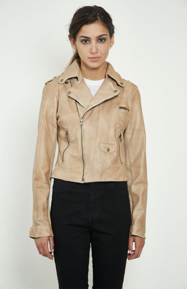 Piper Patina Leather Jacket in  Au Lait