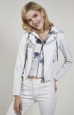 Molly Burnished Leather Jacket in White Chambray