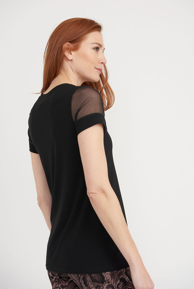Top with Sheer Short Sleeves in Black
