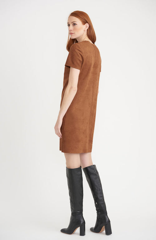 Short Sleeve Faux Suede Dress in Carmel