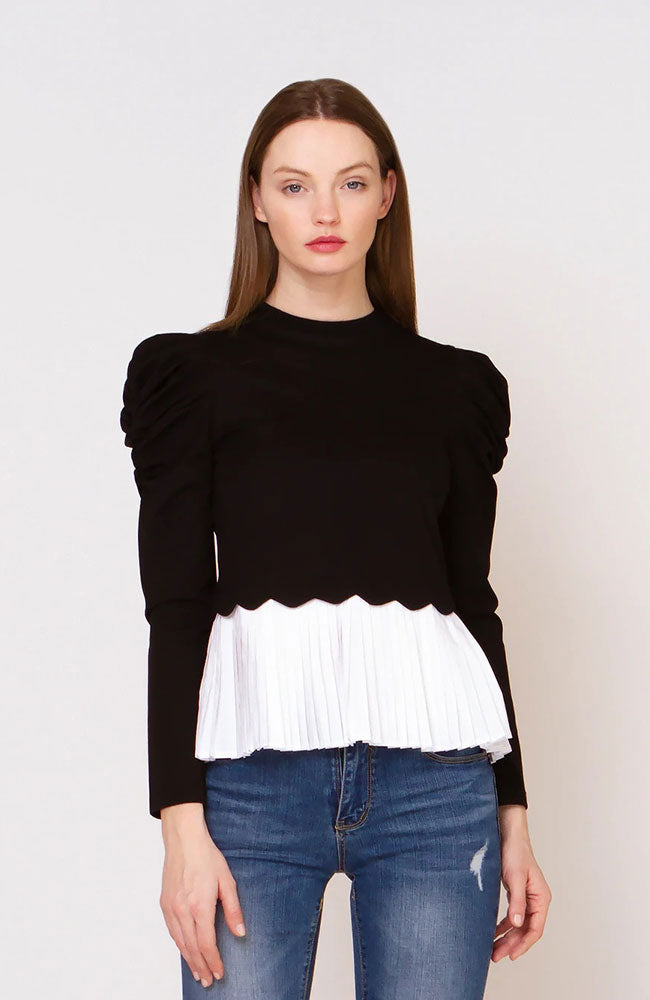 Gracia Pleated Peplum Top