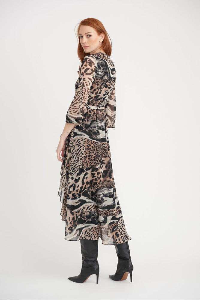 Side Gather Animal Print Dress