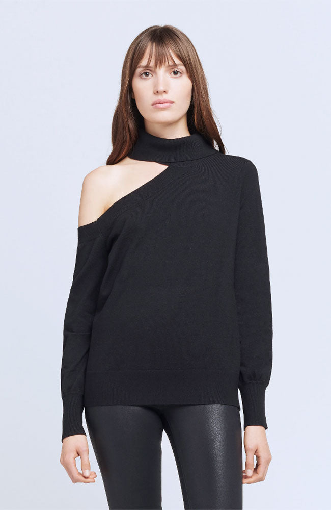 Easton One Shoulder Sweater in Black