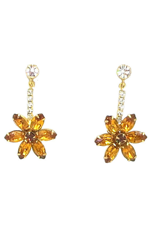 Gold Earrings W/Orange Flower