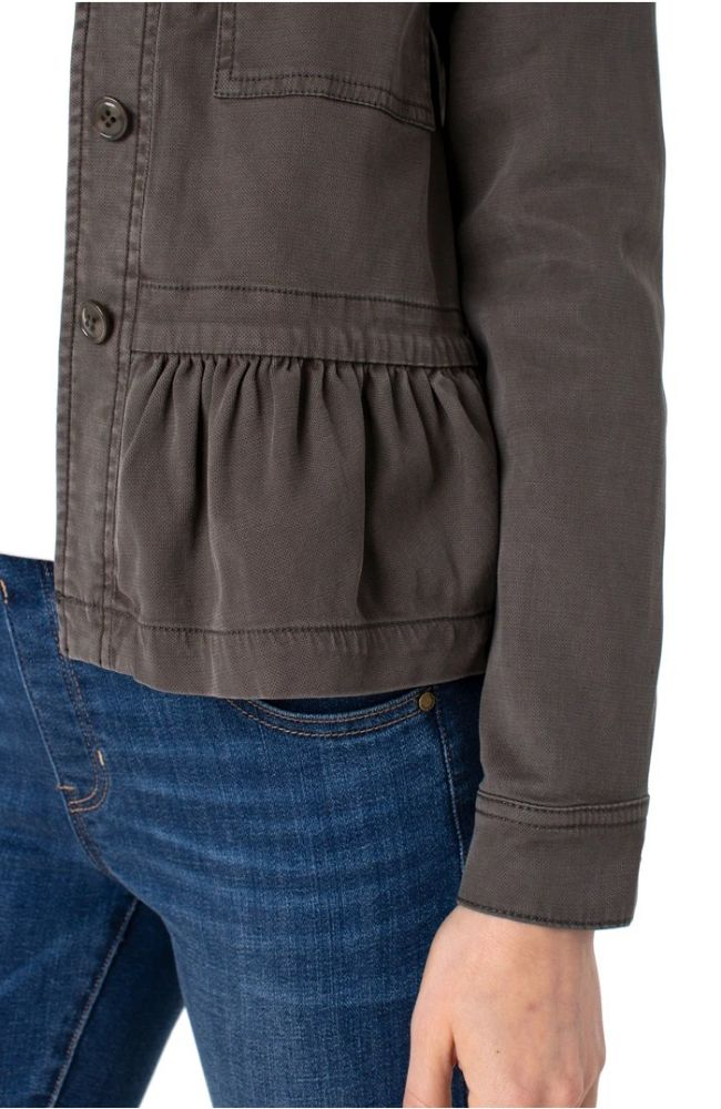Cargo Jacket with Peplum Hem