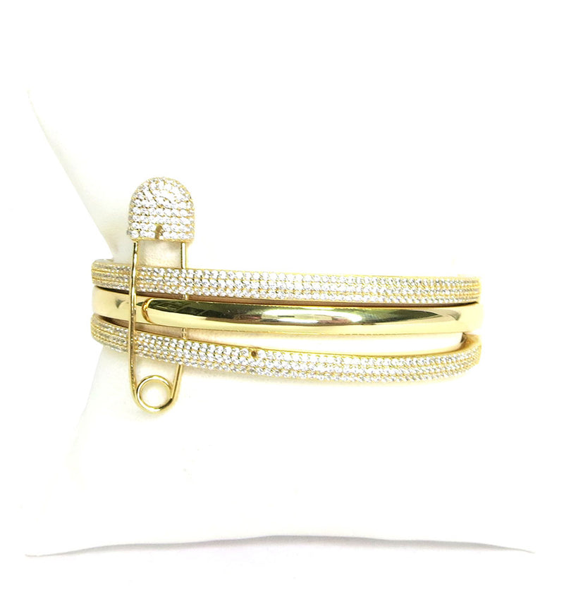 Gold Safety Pin Triple Cuff