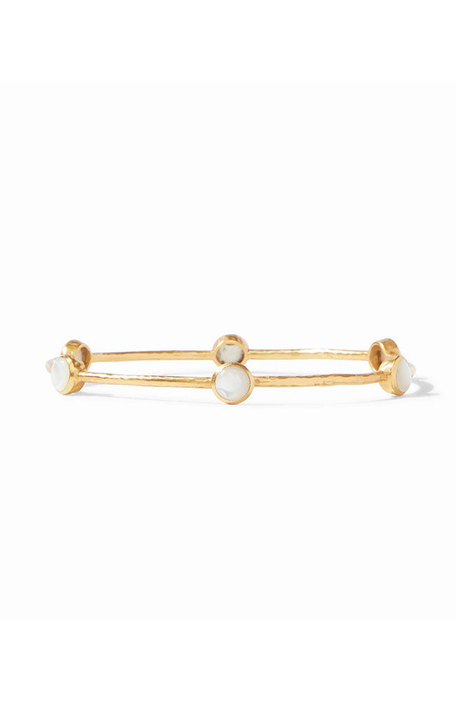 Milano 6-stone Gold Bangle Mother of Pearl Medium