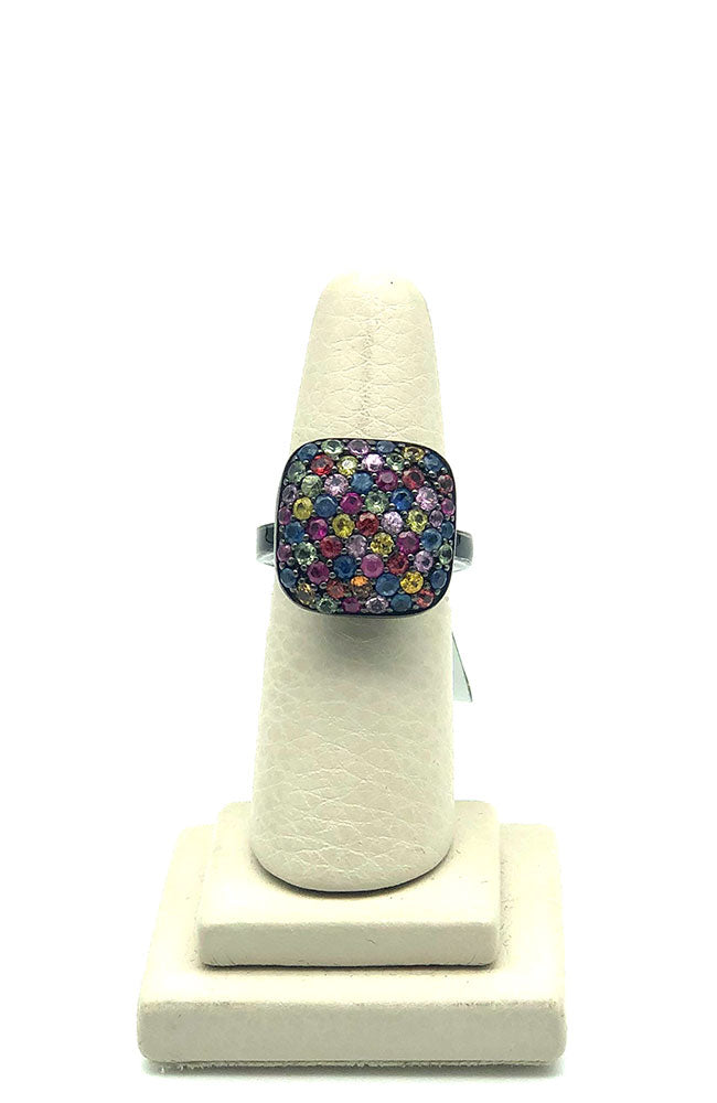 Grey Multi Color Stone Cluster Ring