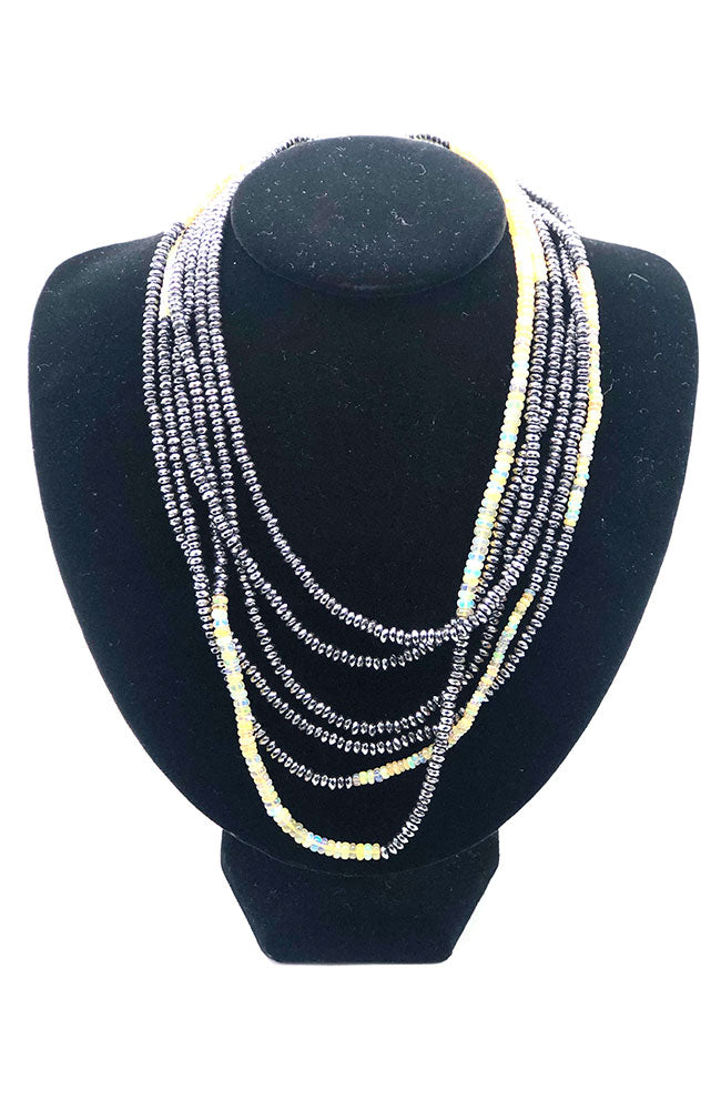 Yellow, Grey Multi Strand Color Block Necklace