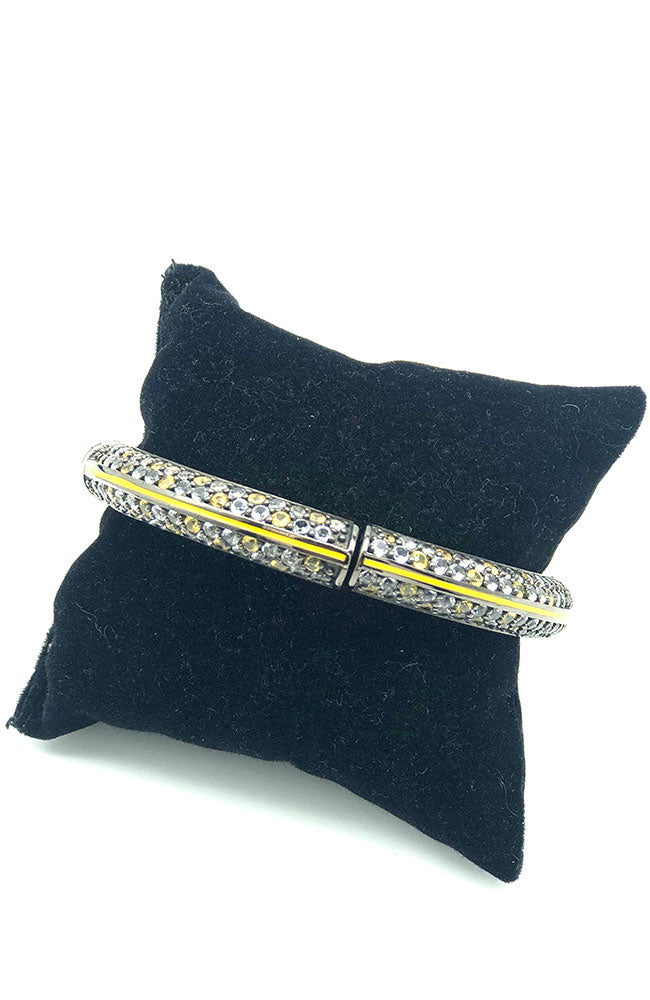 Yellow Grey Stone Bangle