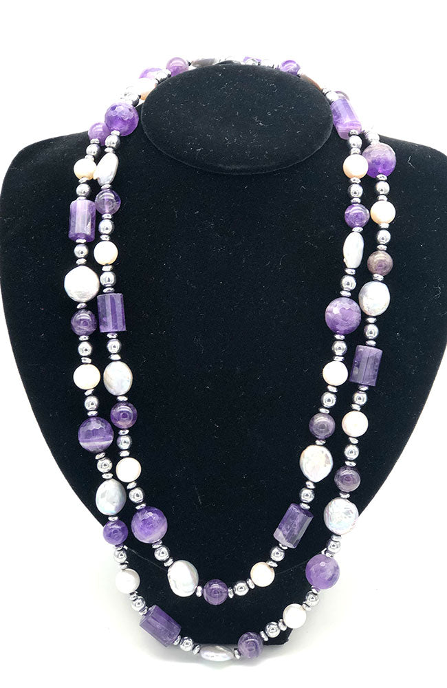 Purple, White and Silver Pearl Necklace
