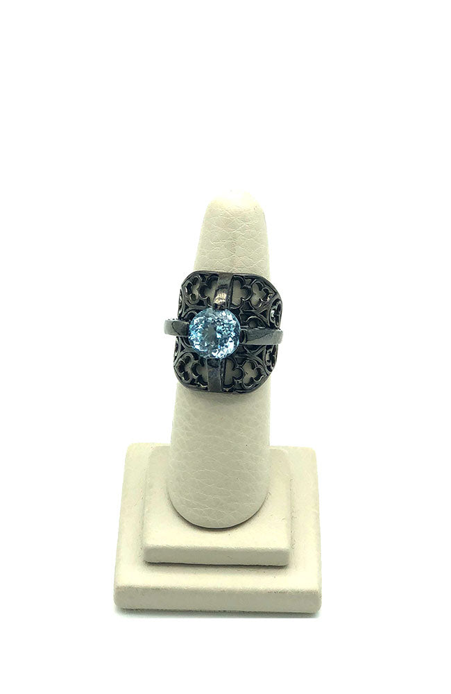 Grey Ring with Large Blue Stone Center