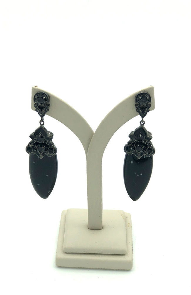Black Art Deco Stone Earrings