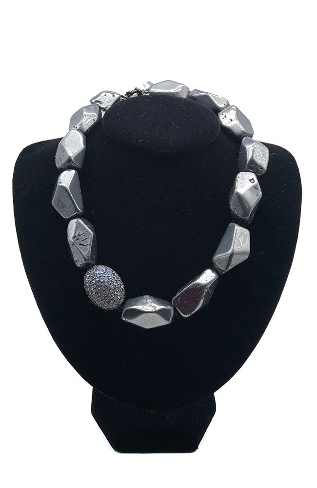 Large Grey Stone Necklace with Crystal Cluster