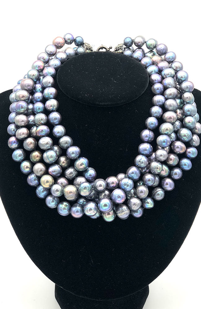 Multi Strand Dark Pearl Short Necklace