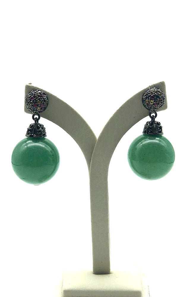 Multi Stone Earring with Green Agate Ball Drop