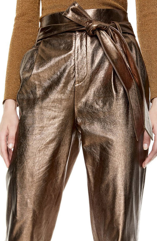 Gabrielle Pants HW w/ Belt in Bronze