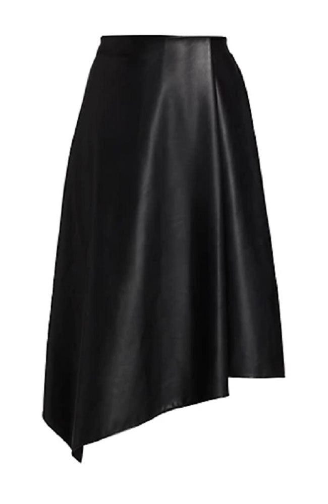 Jayla Vegan Drape Slit Skirt in Blk