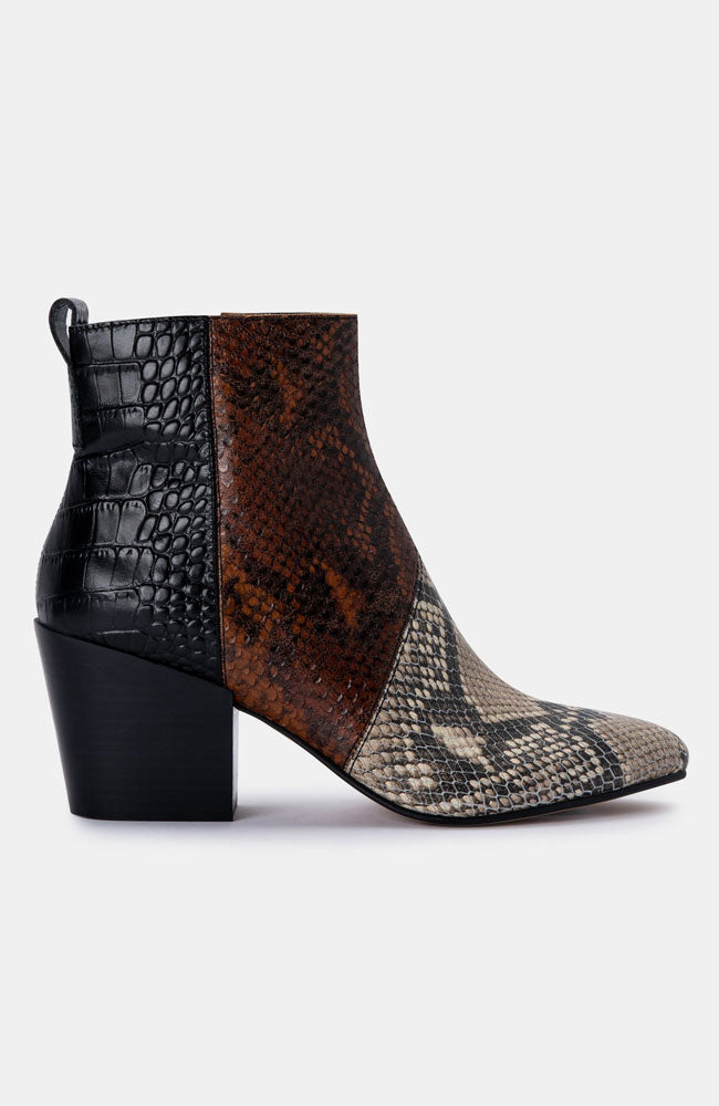 Snake Mixed Leather Bootie