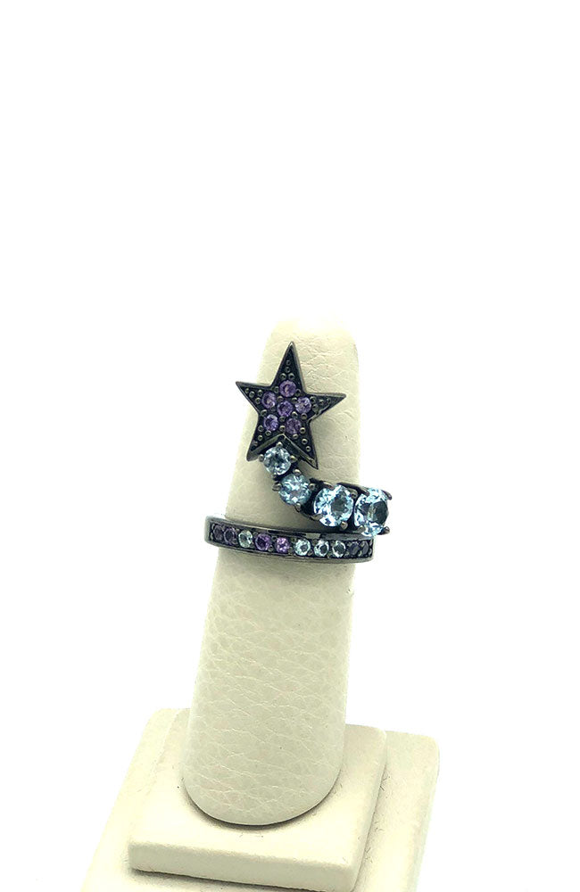 Stacking Ring with Star in Purple Sapphire
