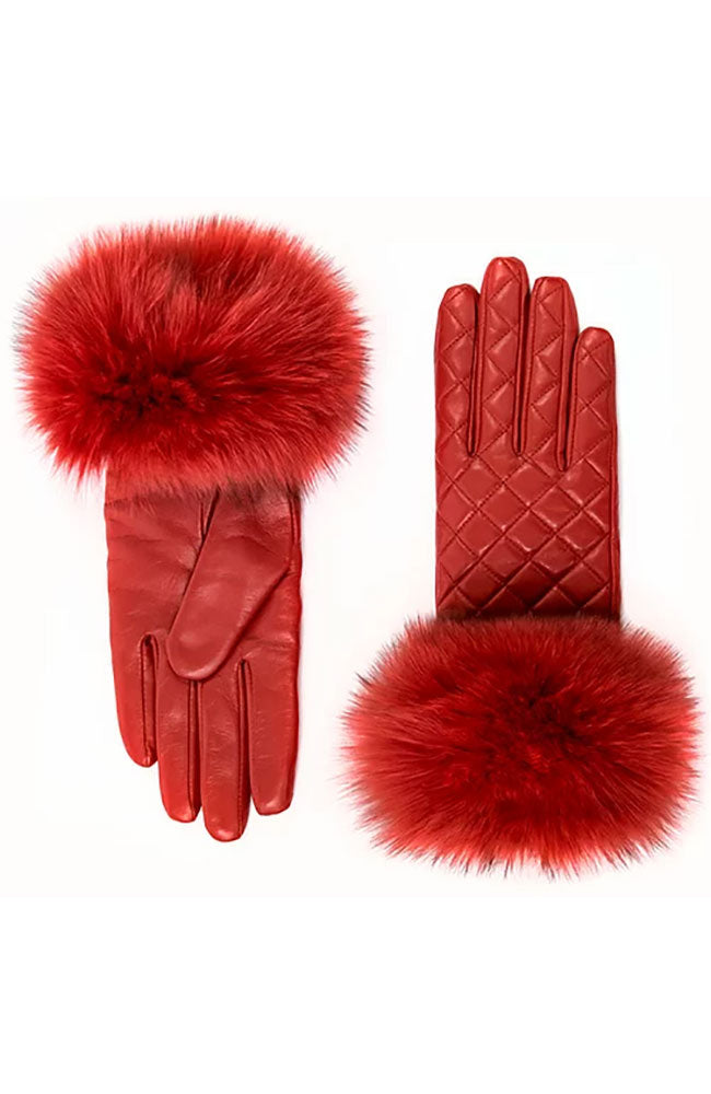 Leather Quilted Glove with Fox Trim